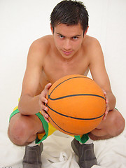 Sexy boy makes a three-point shot