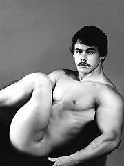 Guy with a mustache in hot retro pics