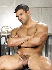 Muscle latino man shows his boner