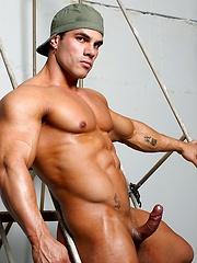 Enzo Pileri , muscle man shows cock