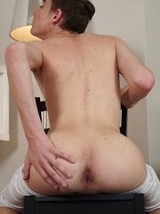 College boy Chad Jomstone stroking his thick cock.
