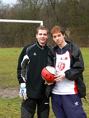 Horny slim young soccer boys playing