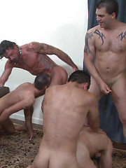 9 horny guys pumping raw loads into each others tight holes back-to-back