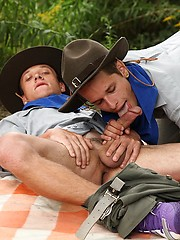 Two scout boys fucking near the camp