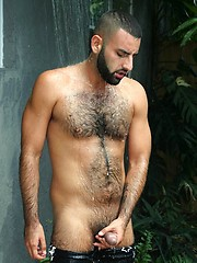 Hot bearded stud David Camacho shows off his hairy body and furry ass in a sexy backyard shower scene