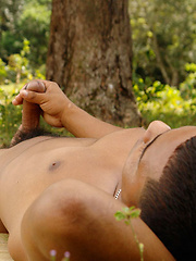 Tribal twink boy stroking
