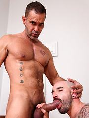 Lito picks up the pace and as the huge length of cock slides into stretched hole