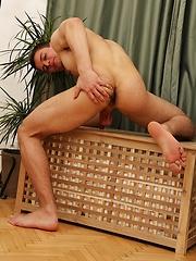 Gorgeous Peter Hood spreads apart his ass cheeks.